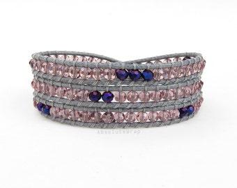 Purple crystal triple wrap bracelet on polyester cord, purple wrap bracelet, crystal wrap bracelet