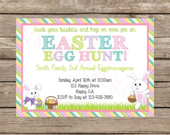 Easter Egg Hunt Invitation, Digital File, You Print