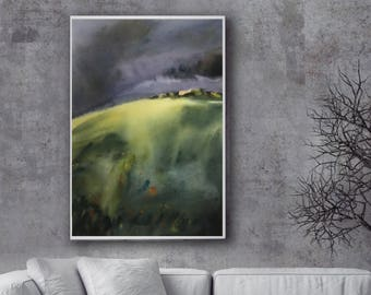Landscape ORIGINAL Watercolor Painting, Green Field and Stormy Sky, Landscape Painting