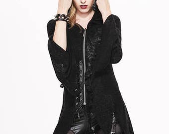 ASYMMETRIC HOODED LADIES sweater hooded goth death rock Devil's Fashion