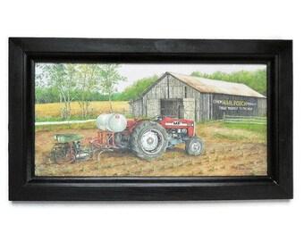 Tractor, Massey Ferguson, Mail Pouch Barn, Art Print, Country Home Decor, Wall Decor, Handmade, 19x11, Custom Wood Frame, Made in the USA