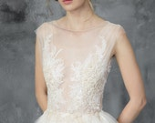 Champagne and ivory wedding gown, lace embroidery, open back dress // Dione