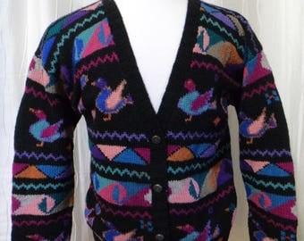 Duck Cardigan Sweater, 100% Wool Sweater (Size: Women's Medium/Large, 36), Duck Hunting, Wildlife Sweater