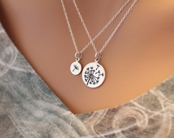 Sterling Silver Big and Small Dandelion Charm Necklace Set, Dandelion Necklace Set, Wishing Necklace Set, Mother and Daughter Necklace Set