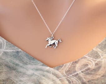 Sterling Silver Horse Necklace, Sterling Silver Stallion Necklace, Wild Stallion Necklace, Horse Necklace, Horse Pendant Necklace