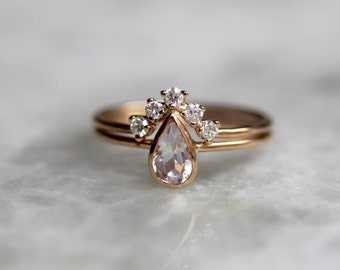 14K Moonstone Pear Engagement Ring Set, Bridal Set, Diamond Chevron Band,  Dainty Engagement