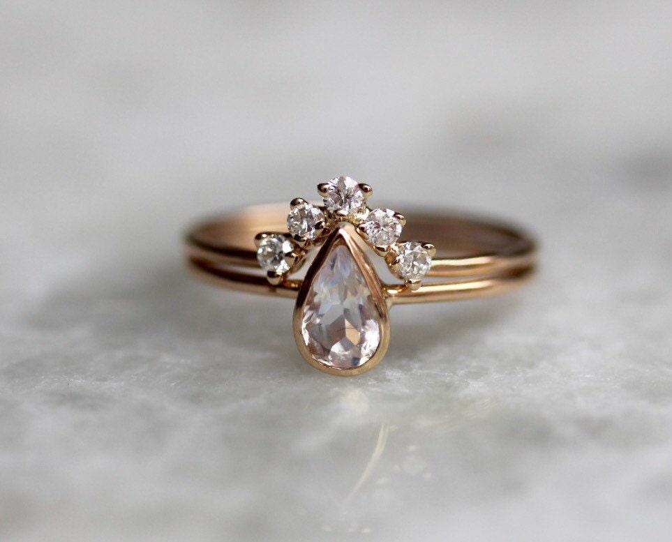 14k Moonstone Pear Engagement Ring Set Bridal Set Diamond