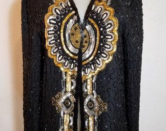 FREE  SHIPPING   Designer Glass Bead Sequin Jacket