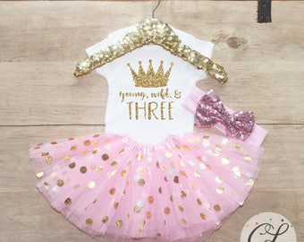Third Birthday Tutu Shirt Outfit / Baby Girl Clothes Young Wild Three 3 Year Old Outfit Three Birthday Set 3rd Birthday Princess Crown 069