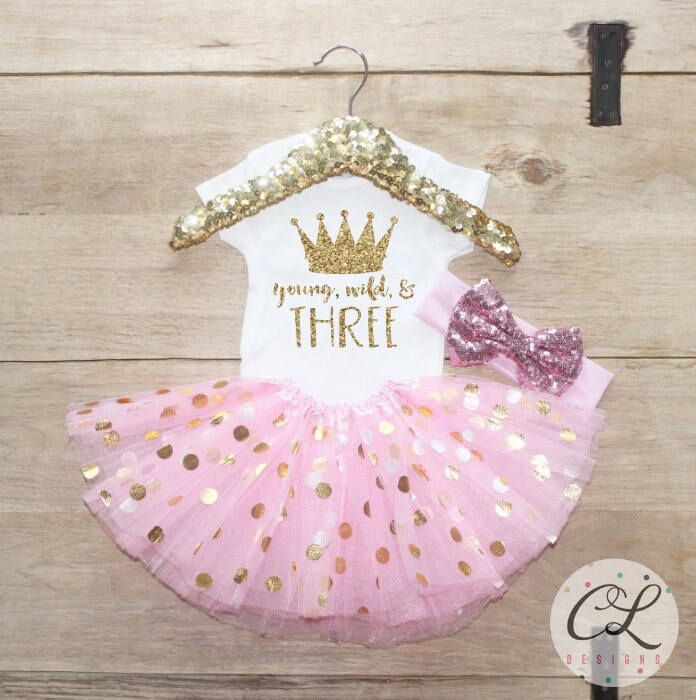 Third Birthday Shirt Outfit / Baby Girl Clothes Young Wild