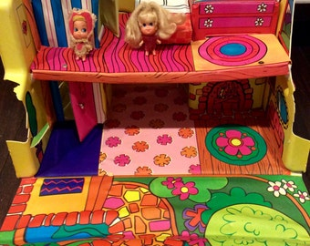 """1968 Liddel Kiddles """"Talking (not) Townhouse"""" w/ Two Dolls, Vintage Liddle Kiddles Talking House, Liddle Kiddle Townhouse,Liddle Kiddle Doll"""