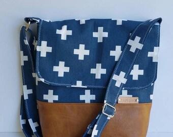 Vegan Leather Messenger Bag/Women Swisscross Crossbody Bag/Hipster Crossbody Purse/Canvas Messenger Purse/Everyday Bag/Gift For Her