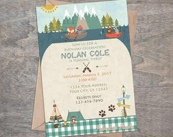 Camping Woodland invitation | Fishing birthday forest friends tribal 1st 2nd 3rd mountains fox raccoon owl bear printable invitation