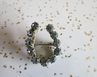 Antique Victorian Paste Rhinestone Lucky Horseshoe Brooch Pin