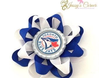 Blue Jays Loopy Bow/ Hairbow Clip / Loopy Bow /  Bottlecap bow / Blue Jays Bow