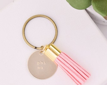 Phi Mu Sorority Keychain, Personalized Phi Mu Sorority Key Chain, Phi Mu Sorority Tassel Keychains, Big Little Keychain