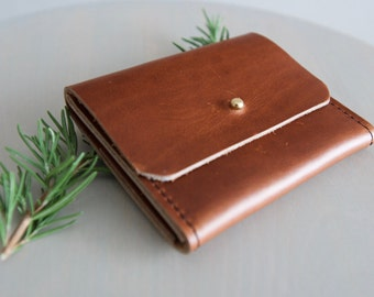 The Lima - Extended Minimalist Card, Cash and Change Wallet in Aged Whiskey Horween Leather