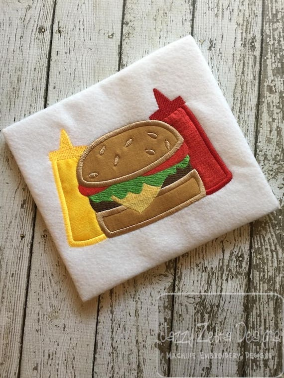 Mustard or Ketchup on your Cheeseburger? appliqué embroidery design - cheeseburger appliqué - ketchup appliqué - mustard appliqué -hamburger