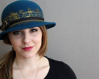 Teal Wool Felt Hat with Hand Painted Gold Lace Band, Zipper Band and Bow