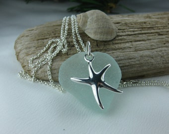 Ocean's Dream seaglass starfish necklace, aqua beach glass large starfish charm necklace