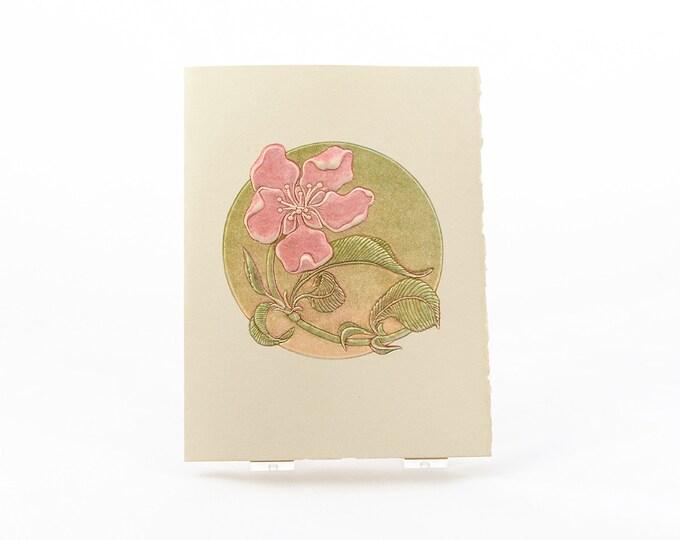 Peach Flower Letterpress Card. Embossed Flower. Pink Flower. Blank inside.