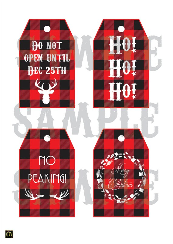 New* Rustic - Buffalo Check - Deer - Gift Tags - Christmas - Party - Holidays - PRINTABLE - Pdf - Digital - Instant Download
