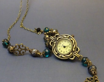 Long Pocket Watch Necklace with Filigree, Working Pocketwatch and Crystals, Victorian, Antique Bronze, 2001
