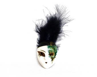Brooch, vintage, porcelain jewelry, vintage brooch, venetian mask, pin scarf,feather, mask brooch, dress clips, carnival jewelry, gift women