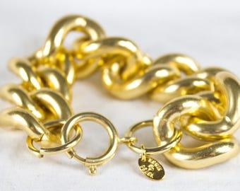 Modernist Gold Chunky Chain Link Statement Bracelet