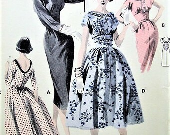 50s LOVELY Slim or Full Skirt Dress Pattern BUTTERICK 8083 Bateau Neckline Flattering Empire Bodice Bust 34 Vintage Sewing Pattern UNCUT