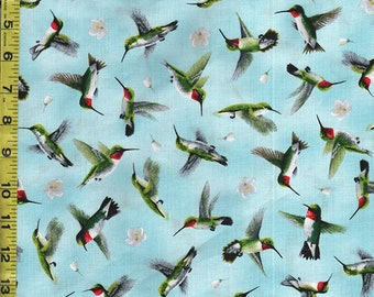 Japanese Asian Quilting Fabric - Hummingbirds in Flight - Soft Teal Blue
