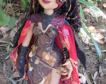 OOAK fantasy cloth art doll, Red Dragon Queen