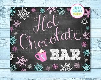 Hot Chocolate Bar Sign, Instant Download, Winter Wonderland, Winter Onederland, Hot Cocoa Party, Printable, Digital File, Pink