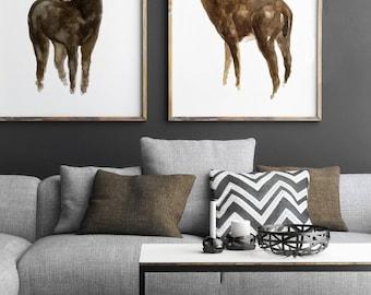 Set of 2, Moose Deer Watercolour Painting, Brown Animal Wall Decoration, American Animal Deer Elk Nature Illustration, Animals Art Print