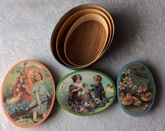 1980's Set of 3 Wooden Oval Boxes by Lillian Vernon