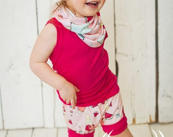Shorts, unicorn, ice cream, popsicle, watermelon, macaron, grow with me short, harem, 0-12M, 6M-2Y, 3Y-6Y, babies, toddlers, kids