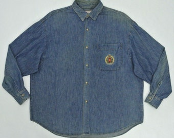 Guess Vintage Shirt Vintage Guess by Georges Marciano Denim Shirt Made in USA Mens Size M