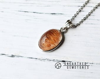 Bronze Rutilated Quartz Necklace Gemstone Necklace, Gold Necklace, Golden Gemstone Pendant, Golden Rutile Quartz Jewelry