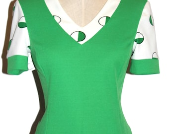 70'S GREEN KNIT TOP
