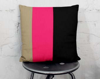 """Color Block Pillow Cover, Taupe Hot Pink  Black 16"""" 18"""" 20"""" 26"""""""