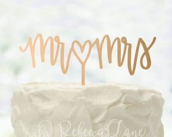 Wooden Cake Topper | Mr & Mrs | Calligraphy | Metallic | Glitter | Gold | Rose Gold | Custom