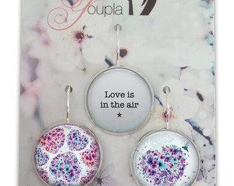 Trio of earrings in resin (18mm diameter) - Chacha by Iris - trio 37 - collection the feather to the ear
