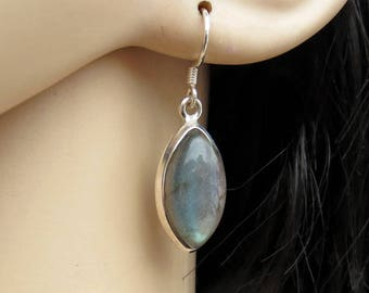 Marquise Labradorite Silver Earrings, Labradorite Jewelry, Wiccan Jewelry, Gemstone Earrings, Gift for Her