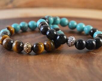 Tiger Eye Bracelet, Bohemian Jewelry, Brown Tiger Eye, Blue Tiger Eye, Boho Bracelet, Turquoise Bracelet, Stacking Bracelet