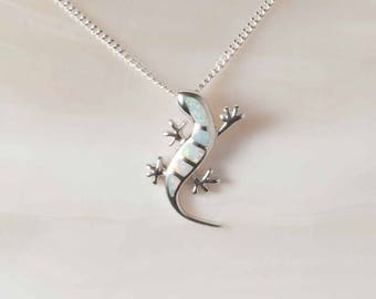 Snow Opal Lizard Pendant, Sterling Silver White Opal, 925 Silver Pendant, Opal Jewelry, Silver Jewelry, Animal Jewelry, Lizard Jewelry