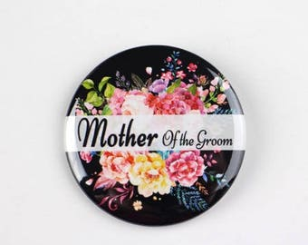Mother of the groom pin,  wedding pin, flower wedding pin, name button pin