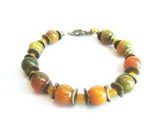 Gemstone beaded bracelet, agate bracelet, autumn bracelet, colorful stones bracelet, bronze bracelet stones, green orange yellow bracelet