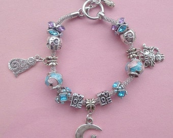 1-Cat on the Moon ~ Pand*ra Style Charm Bracelet Pink/Blue 2