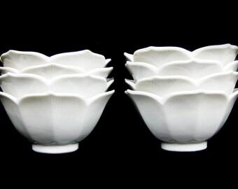Vintage Set of Eight White Lotus Bowls