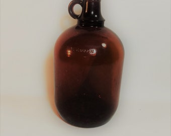 Vintage One Gallon Brown Glass Jug, Duraglass
